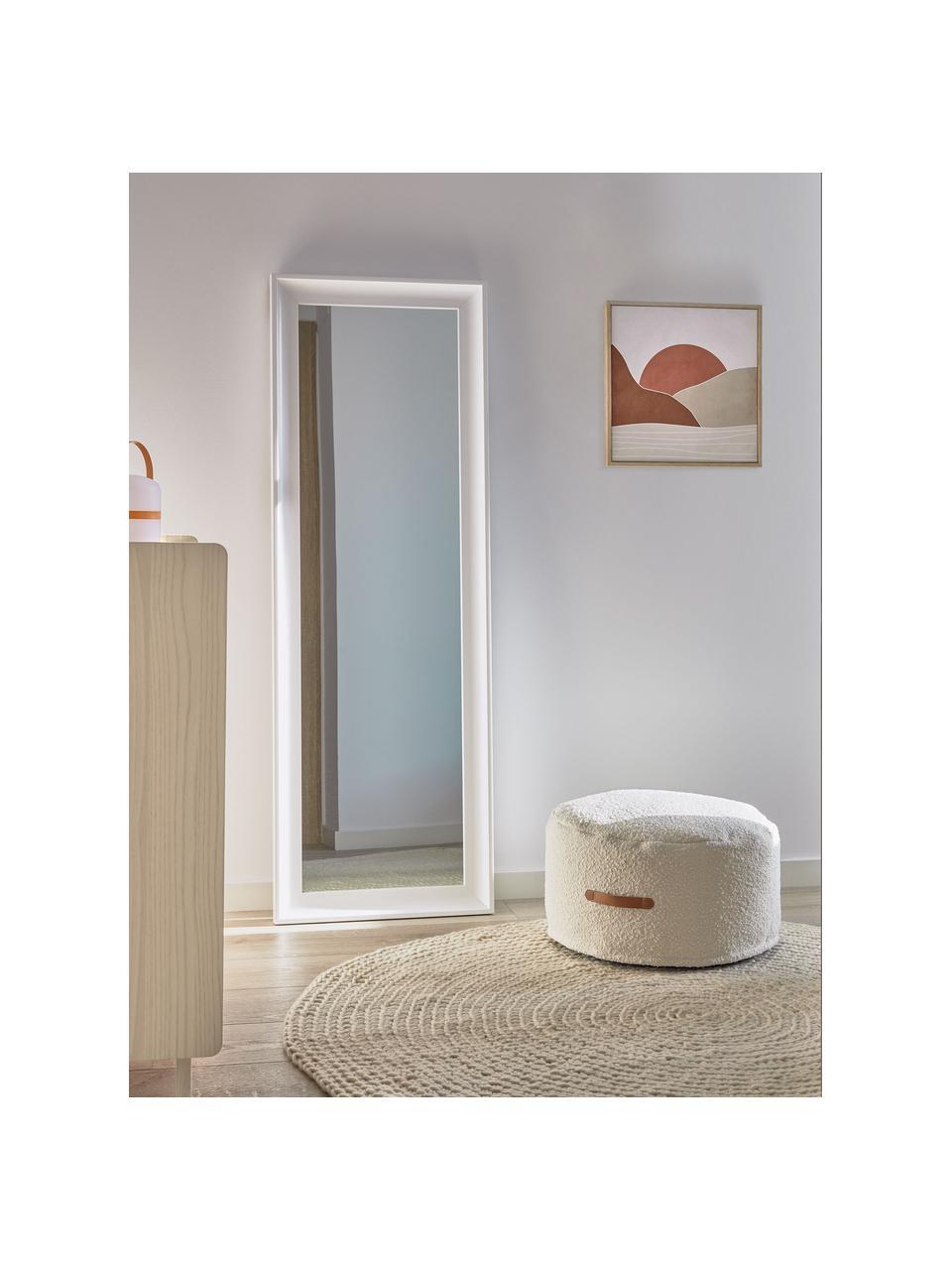 Eckiger Wandspiegel Romila mit weißem Kunststoffrahmen, Rahmen: Kunststoff, Rückseite: Mitteldichte Holzfaserpla, Spiegelfläche: Spiegelglas, Weiß, 52 x 153 cm