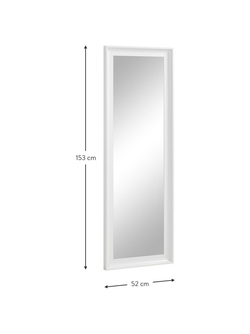 Specchio da parete con cornice in legno Romila, Cornice: legno, Superficie dello specchio: lastra di vetro, Bianco, Larg. 52 x Alt. 153 cm