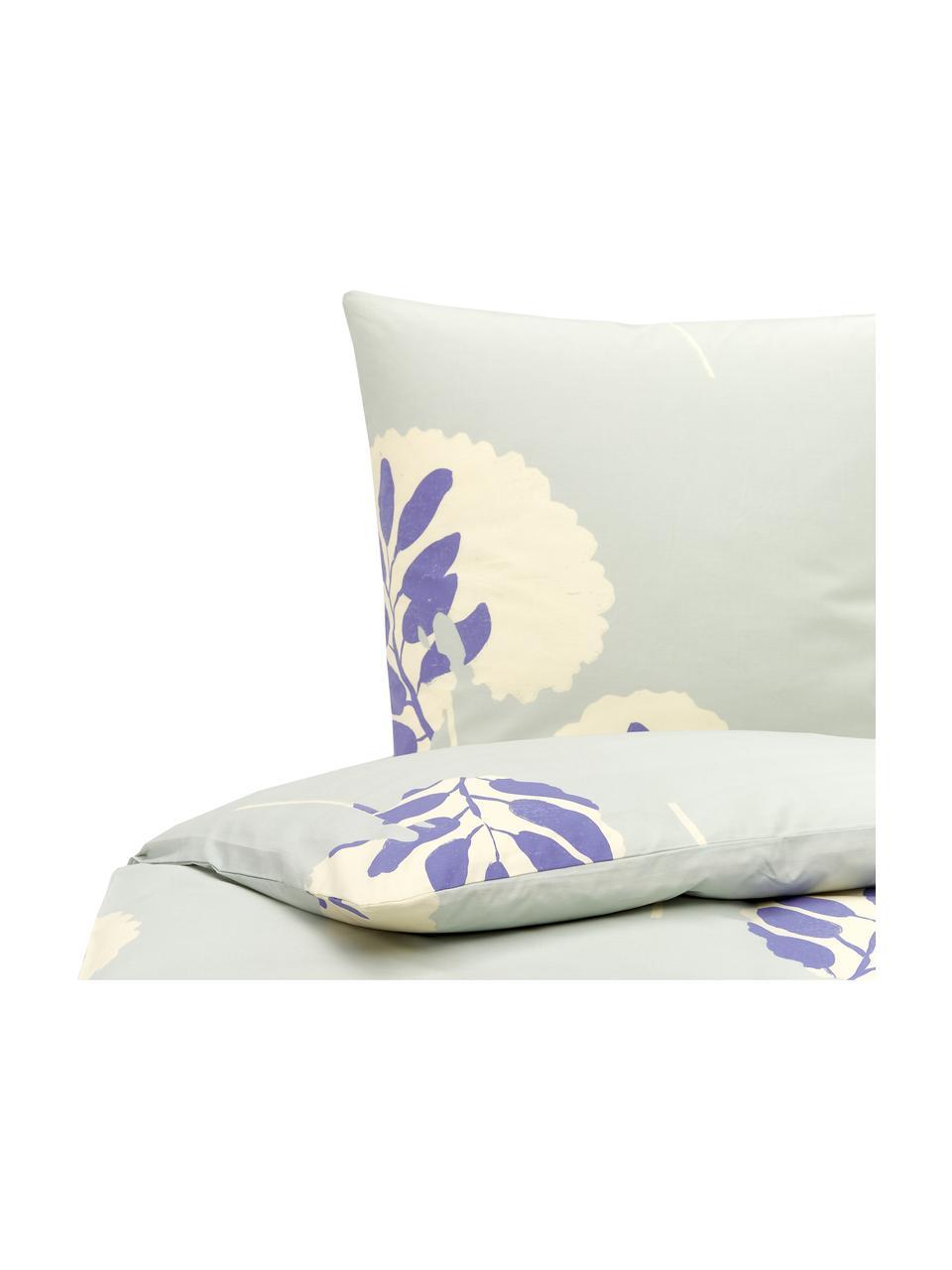 Pościel z bawełny Romantic Leaves, Szaroniebieski, kremowy, niebieski idygo, 155 x 220 cm + 1 poduszka 80 x 80 cm