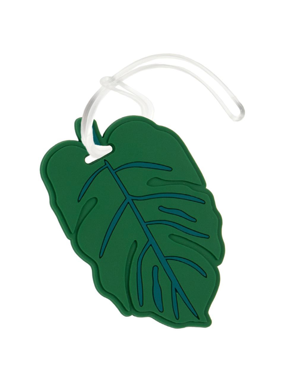 Gepäckanhänger Leaf, Kunststoff, Grün, Weiß, 10 x 6 cm