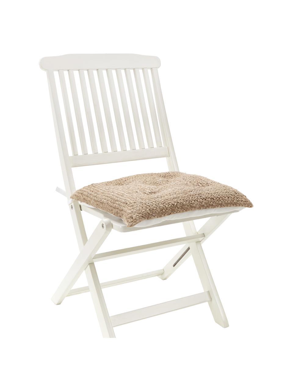 Juten stoelkussen Justina, Bovenzijde: jute, Onderzijde: 100% katoen, Beige, wit, 40 x 40 cm