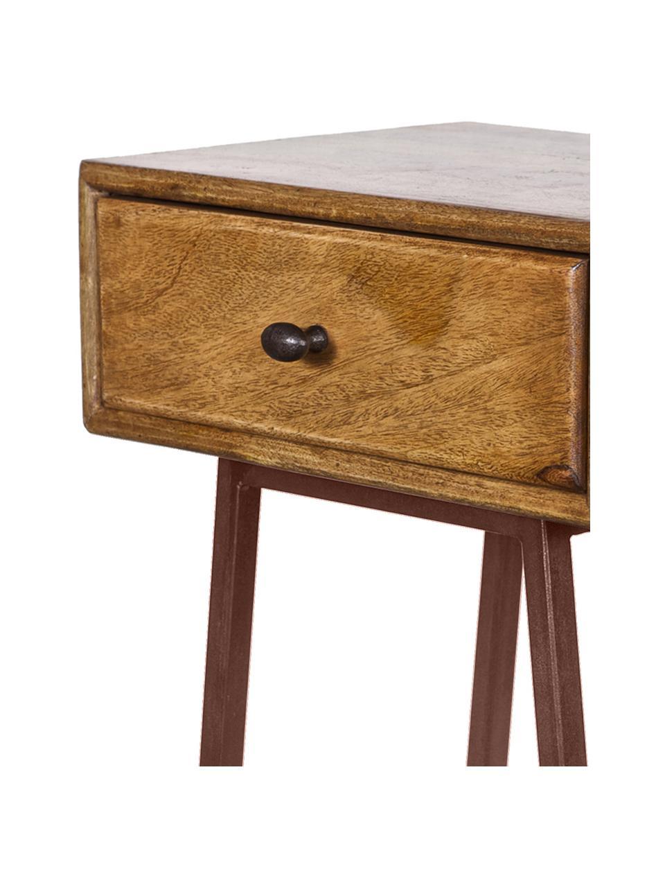 Stolik pomocniczy Skybox, Drewno sosnowe, rdzawobrązowy, S 40 x W 70 cm