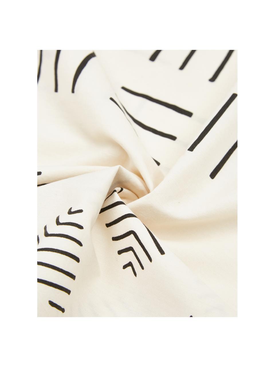 Bavlněné povlečení v boho stylu s efektem soft-washed Kohana, Režná, černá