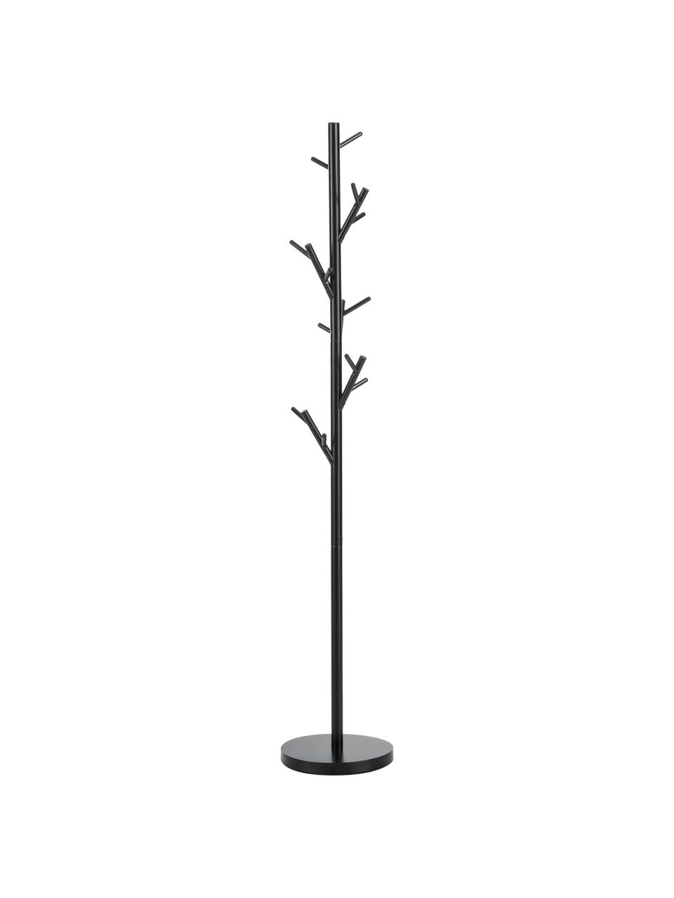 Appendiabiti con 18 ganci Tree, Tubolare in acciaio, verniciato a polvere, Nero, Ø 28 x Alt. 170 cm