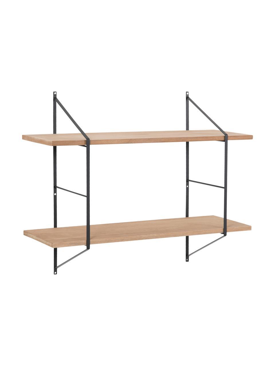 Mała półka ścienna z drewna i metalu Belfast, Stelaż: czarny Półki: drewno paulownia, olejowane, S 76 x W 63 cm