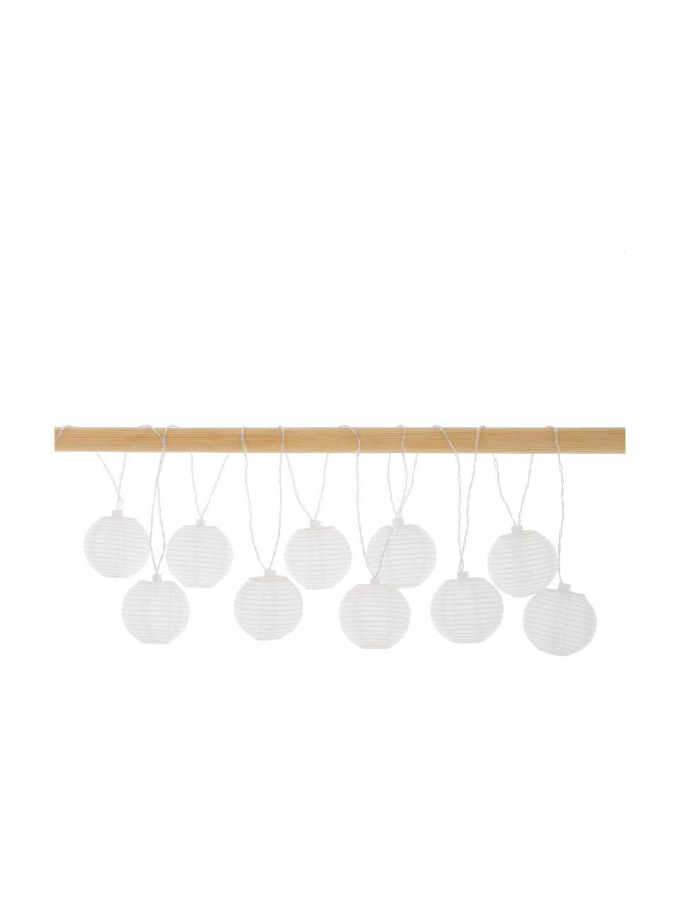 Ghirlanda solare a LED Ball, 270 cm, 10 lampioni, Lanterne: poliestere, carta di riso, Bianco, Lung. 270 cm