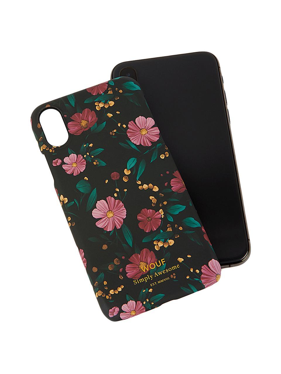 Hülle Black Flowers für iPhone X, Silikon, Schwarz, Mehrfarbig, 7 x 15 cm