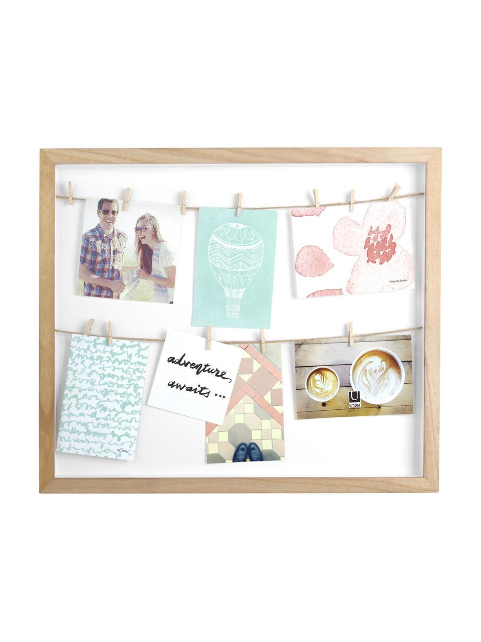 Portafoto con mollette Clothesline, Retro: pannelli di fibre a media, Legno di Paulownia, bianco, beige, Larg. 52 x Alt. 45 cm