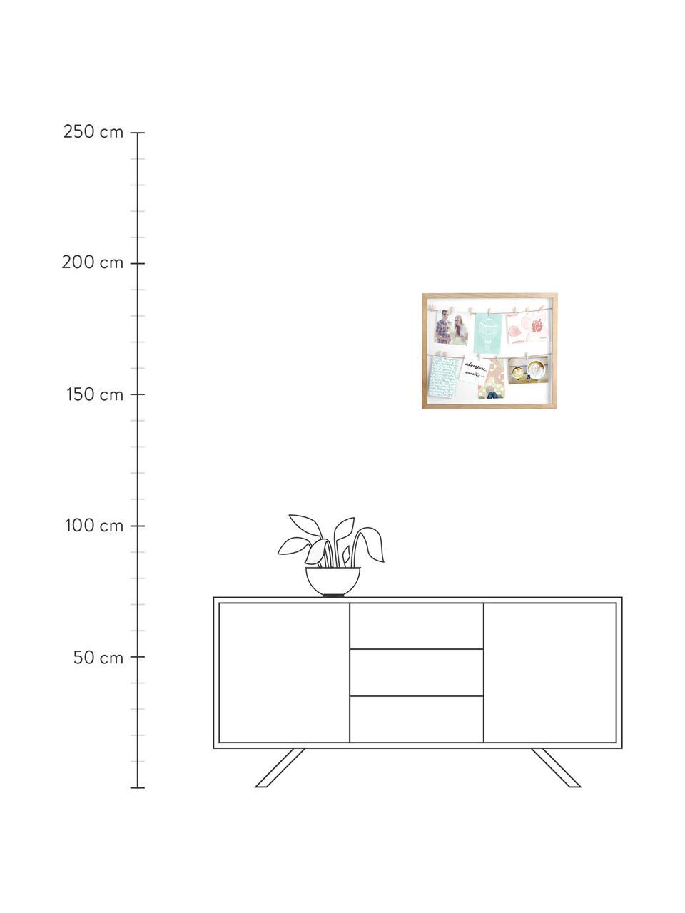 Ramka na zdjęcia Clothesline, Drewno paulownia, biały, beżowy, S 52 x W 45 cm