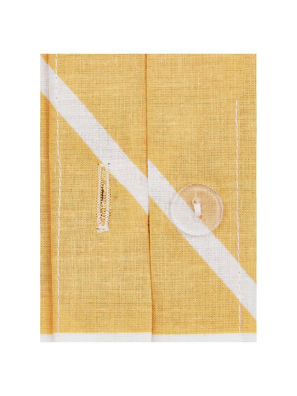 Baumwoll-Kopfkissenbezüge Mirja mit grafischem Muster, 2 Stück, Webart: Renforcé Fadendichte 144 , Senfgelb, Cremeweiß, 40 x 80 cm