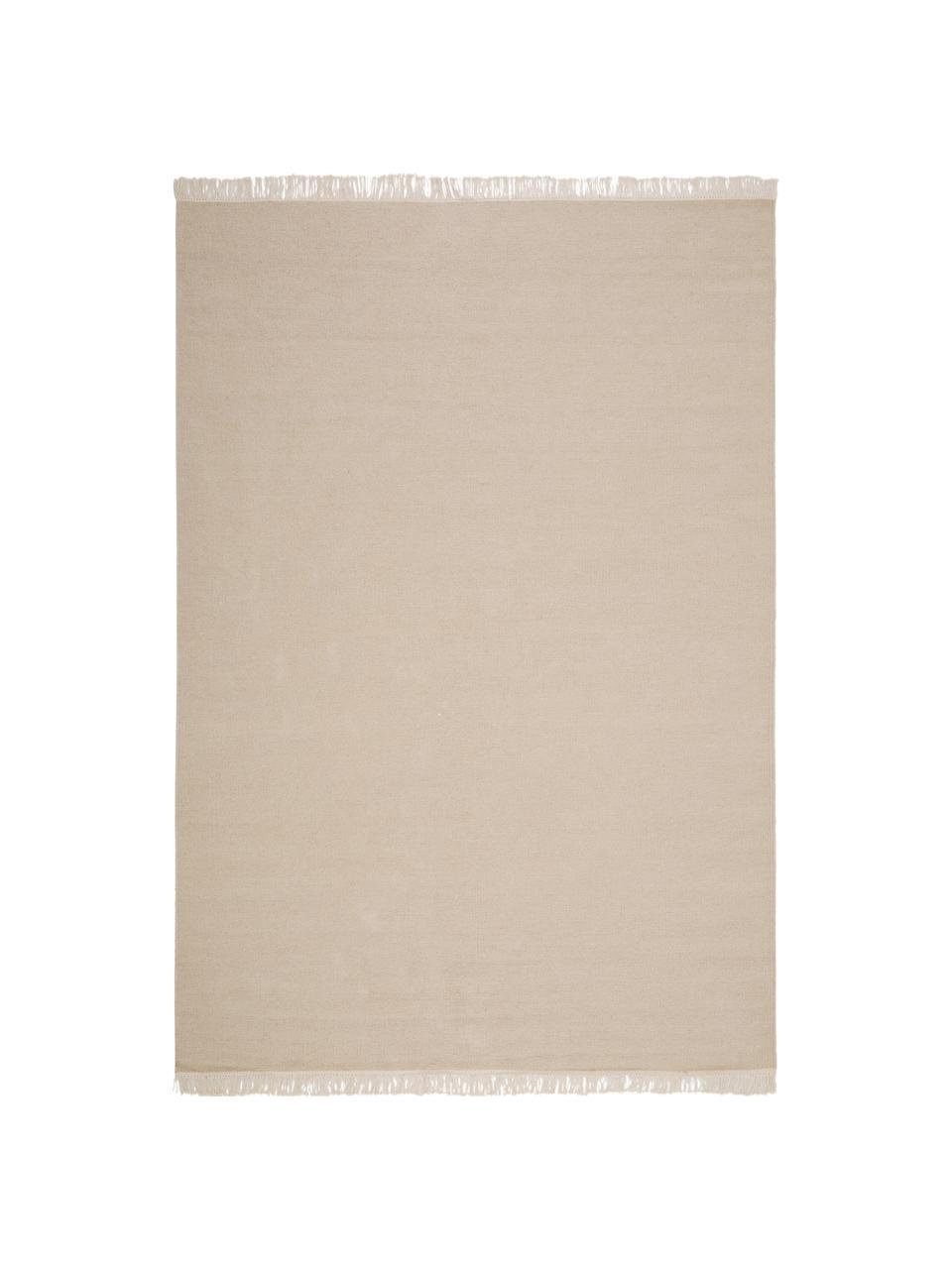 Handgeweven wollen vloerkleed Rainbow in beige met franjes, Franjes: 100% katoen, Zandkleurig, B 140 x L 200 cm (maat S)