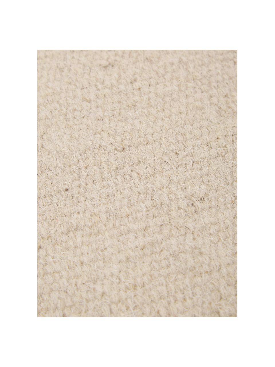 Handgewebter Kelimteppich Rainbow aus Wolle in Beige mit Fransen, Fransen: 100% Baumwolle Bei Wollte, Sandfarben, B 170 x L 240 cm (Größe M)