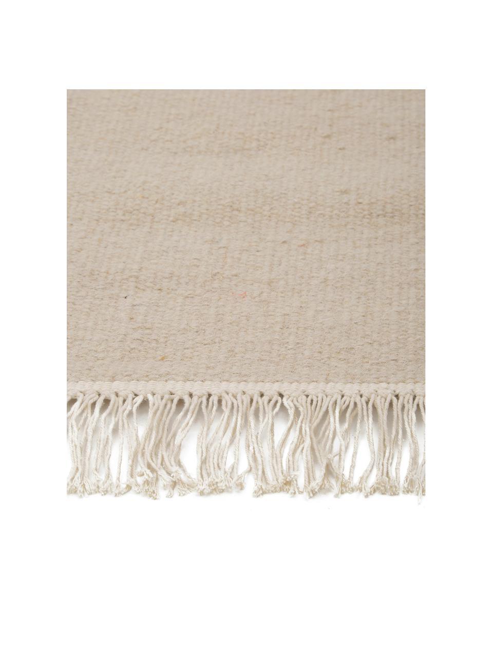 Tappeto in lana beige tessuto a mano con frange Rainbow, Frange: 100% cotone Nel caso dei , Color sabbia, Larg. 170 x Lung. 240 cm (taglia M)