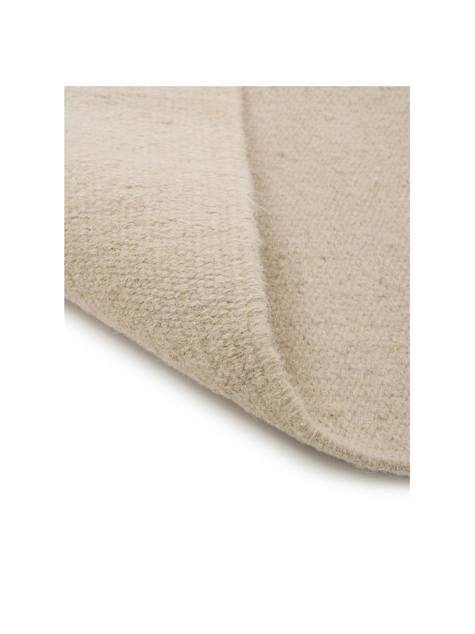 Handgeweven Kelim vloerkleed Rainbow van wol in beige met franjes, Franjes: 100% katoen Bij wollen vl, Zandkleurig, B 170 x L 240 cm (maat M)