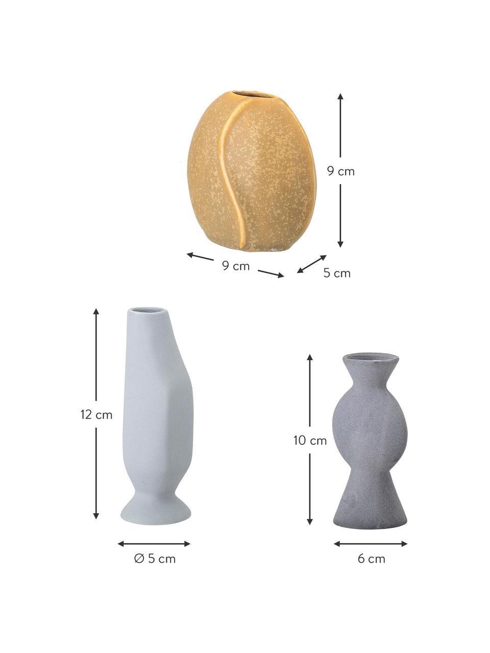 Komplet ręcznie wykonanych wazonów Lubava, 3 elem., Kamionka, Żółty, jasny szary, szary, Komplet z różnymi rozmiarami