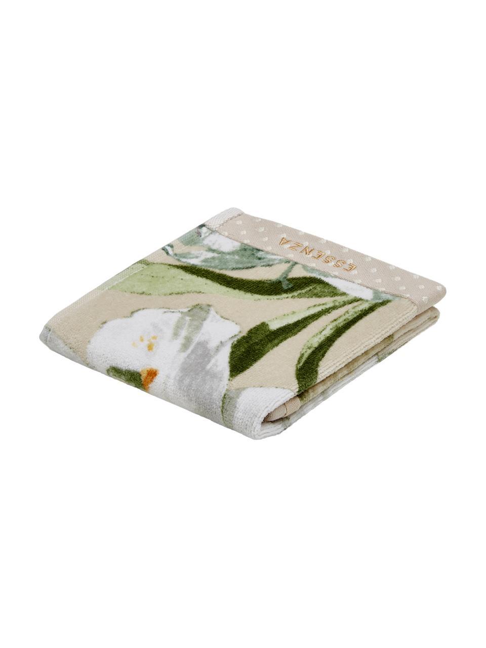 Handdoek Rosalee in verschillende formaten, met bloemenpatroon, 100% biokatoen, GOTS-gecertificeerd, Beige, wit, groen, oranje, Gastendoekje