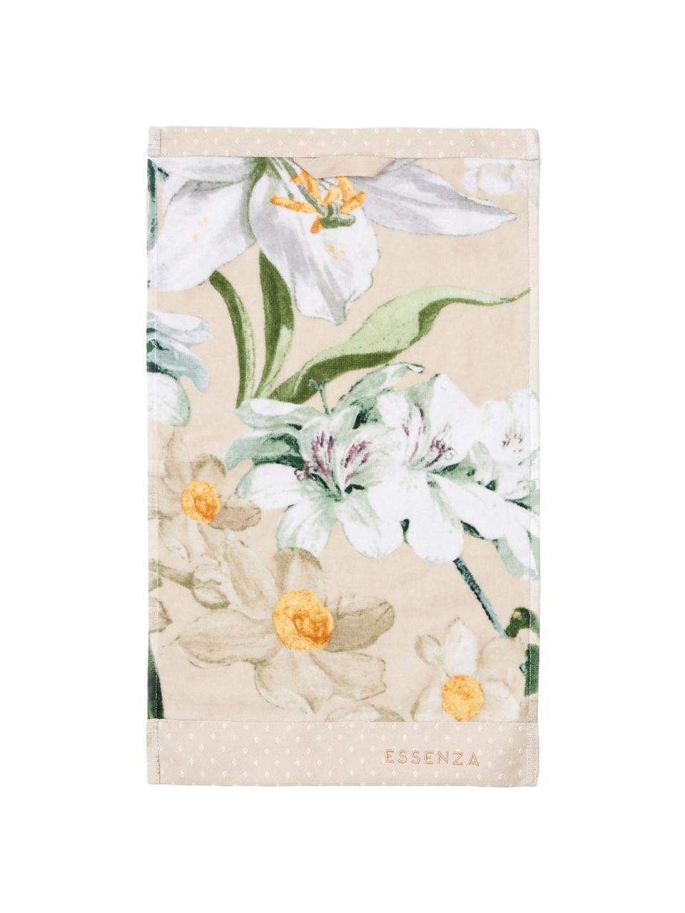 Handtuch Rosalee in verschiedenen Größen, mit Blumen-Muster, 100% Bio-Baumwolle, GOTS-zertifiziert, Beige, Weiß, Grün, Orange, Gästehandtuch