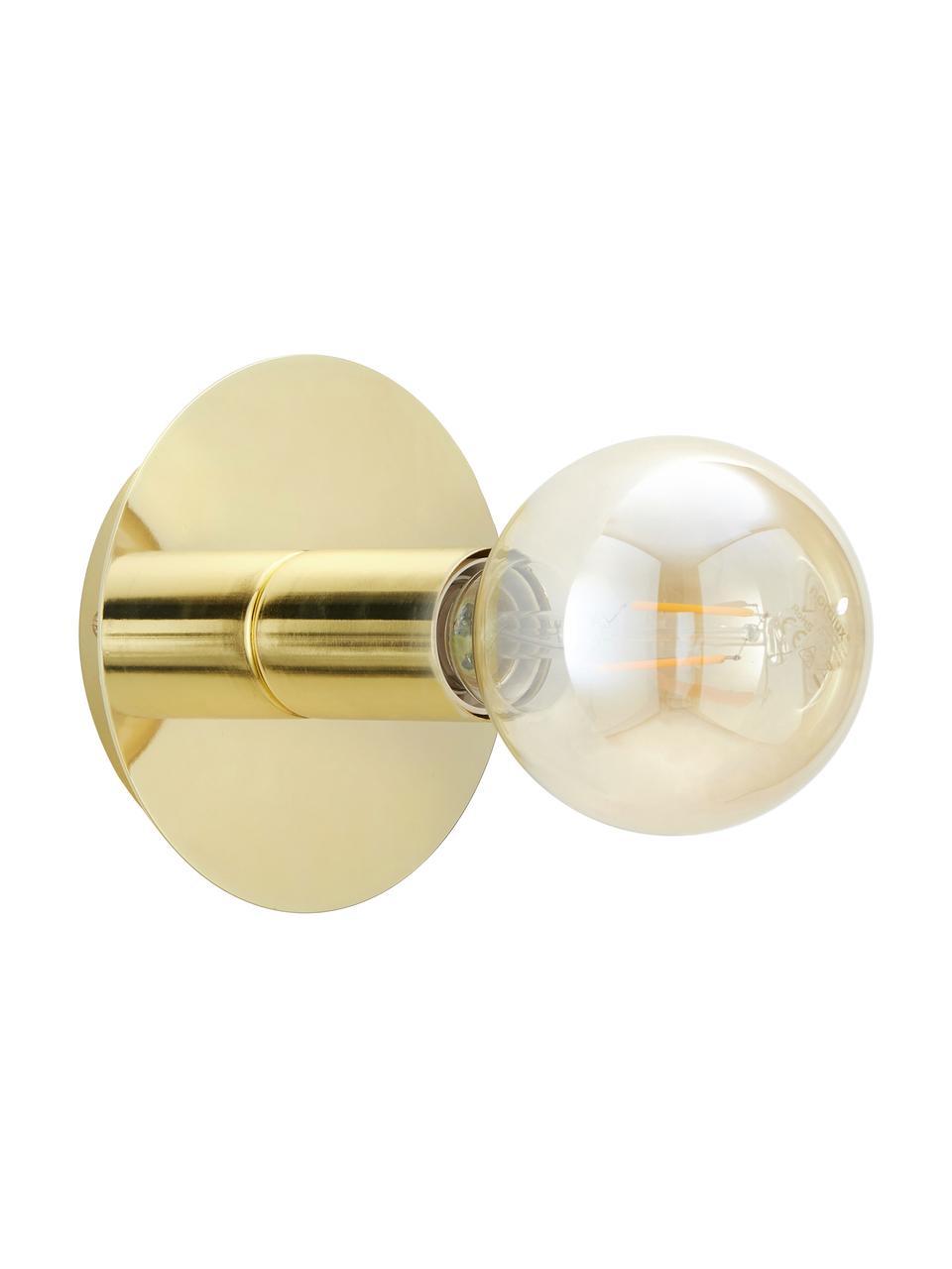 Lampada da parete e soffito dorata Percy, Lampada: metallo ottonato, Ottone lucido, Ø 14 x Prof. 9 cm
