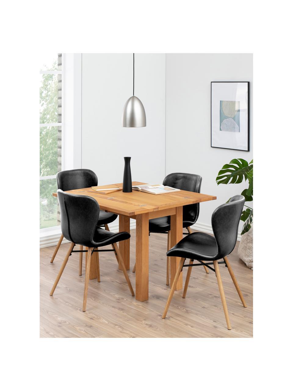 Krzesło tapicerowane ze sztucznej skóry Batilda, 2 szt., Tapicerka: sztuczna skóra (poliureta, Nogi: drewno dębowe, olejowane, Czarny, S 47 x G 53 cm