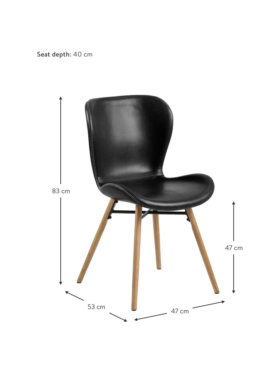 Kunstleren stoelen Batilda in zwart, 2 stuks, Bekleding: kunstleer (polyurethaan), Poten: eikenhout, geolied, Kunstleer zwart, B 47 x D 53 cm