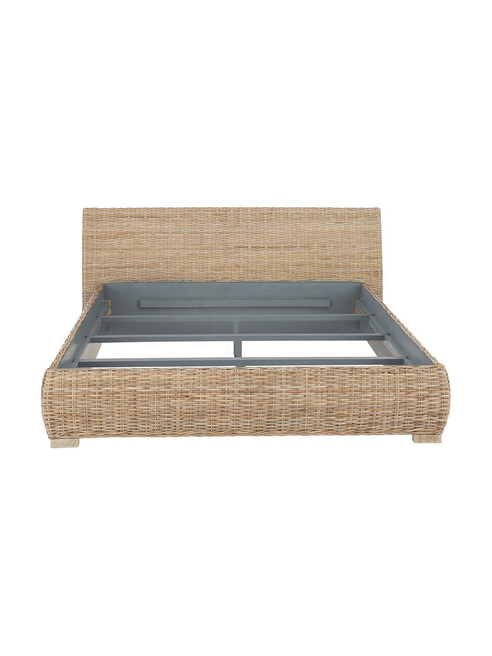 Łóżko z rattanu Kubu, Rattan, S 160 x D 200 cm