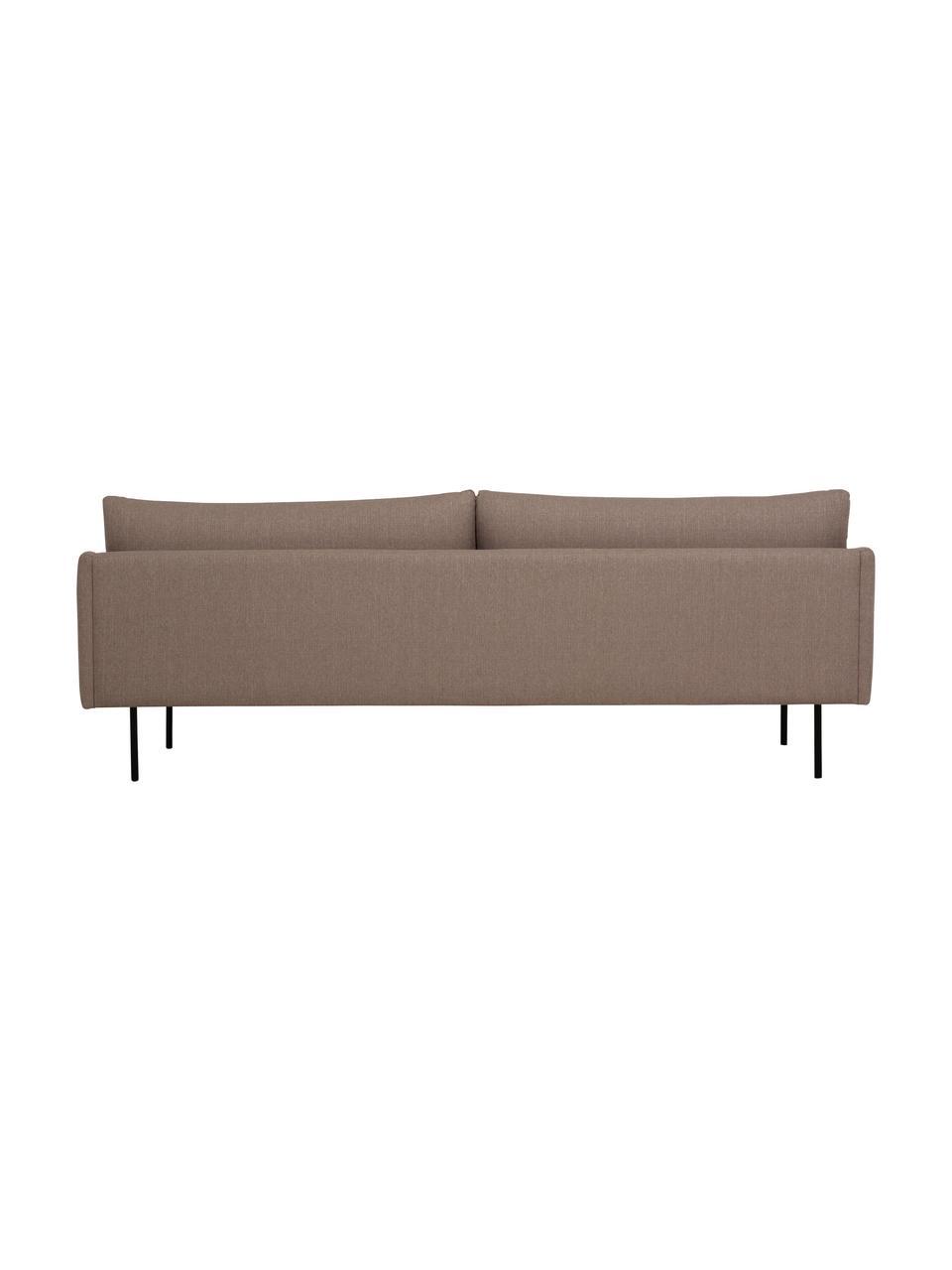 Sofa Moby (3-Sitzer) in Taupe mit Metall-Füßen, Bezug: Polyester Der hochwertige, Gestell: Massives Kiefernholz, Füße: Metall, pulverbeschichtet, Webstoff Taupe, B 220 x T 95 cm
