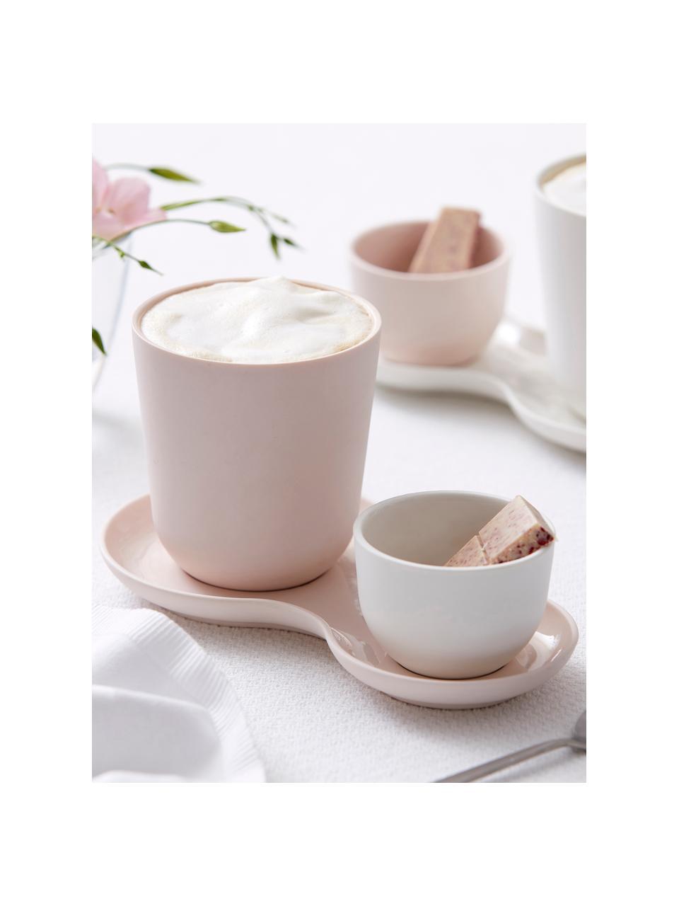 Becher Roseberry mit kleinem Schälchen in Rosa matt/glänzend, 3er-Set, Porzellan, Gebrochenes Weiß, Rosa, Set mit verschiedenen Größen