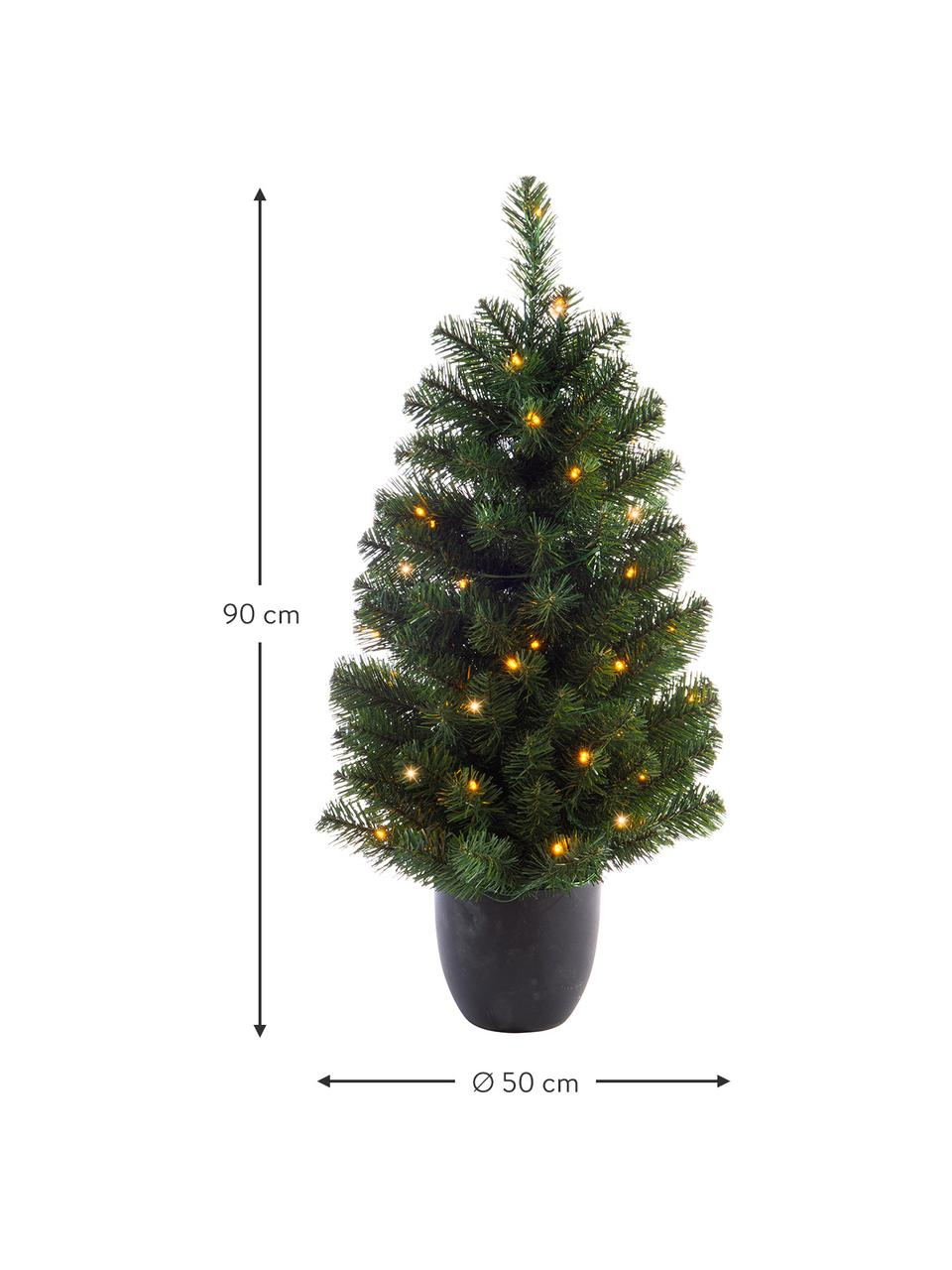 Künstlicher LED-Weihnachtsbaum Imperial H 90 cm, Übertopf: Kunststoff, Grün, Ø 50 x H 90 cm