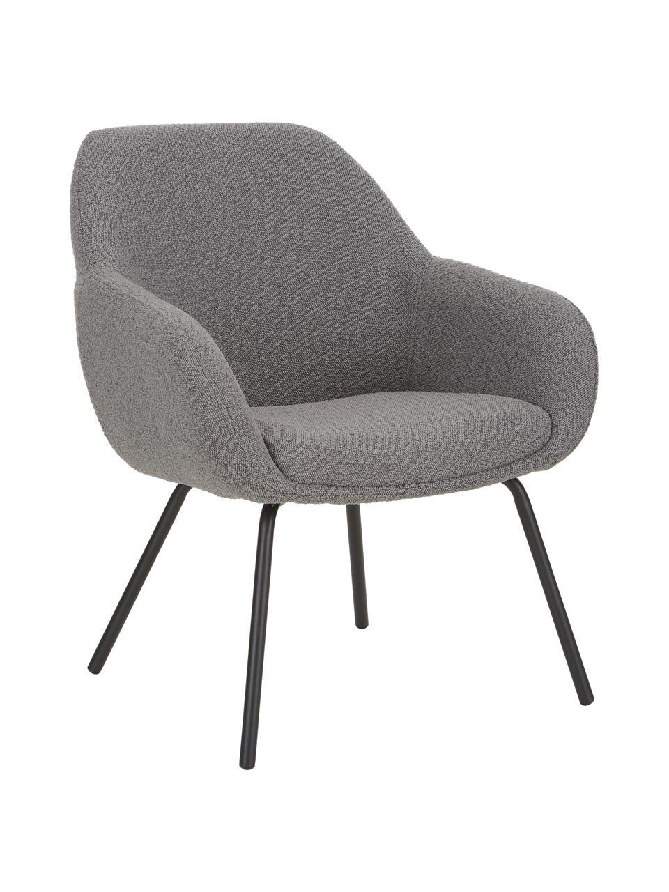 Fotel koktajlowy Jana, Tapicerka: poliester (materiał tekst, Nogi: metalowe, lakierowane pro, Szary, S 72 x G 68 cm