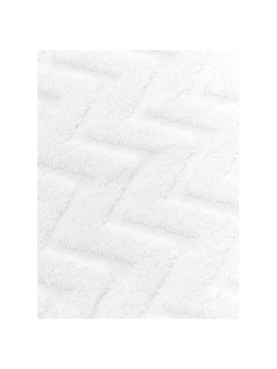 Asciugamano in cotone con motivo a rilievo Karma, 100% cotone Qualità pesante, 600 g/m², Bianco, nero, Asciugamano per ospiti
