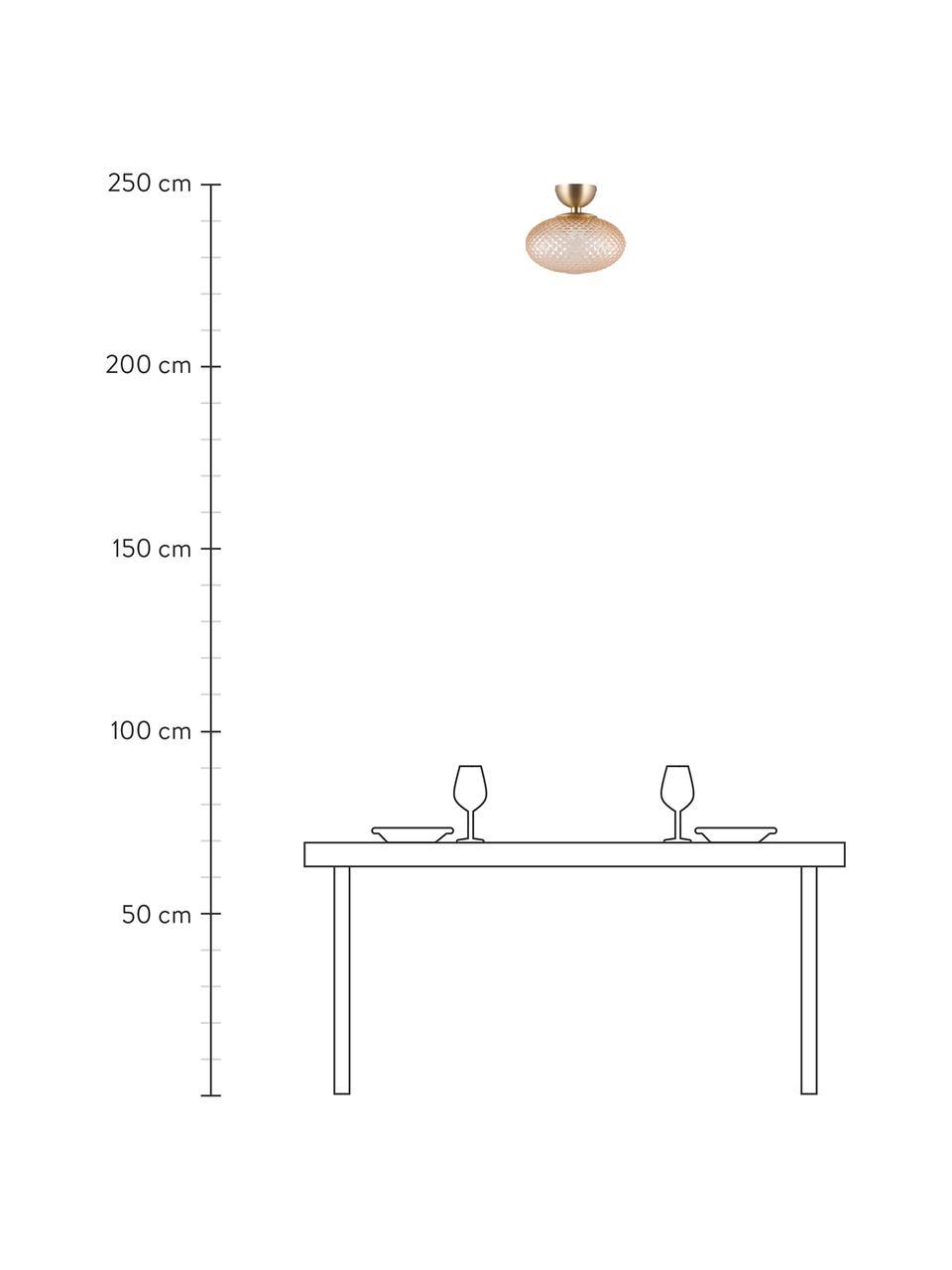 Kleine Deckenleuchte Jackson aus Glas, Lampenschirm: Glas, Baldachin: Metall, vermessingt, Bernsteinfarben, Messing, Ø 28 x H 25 cm