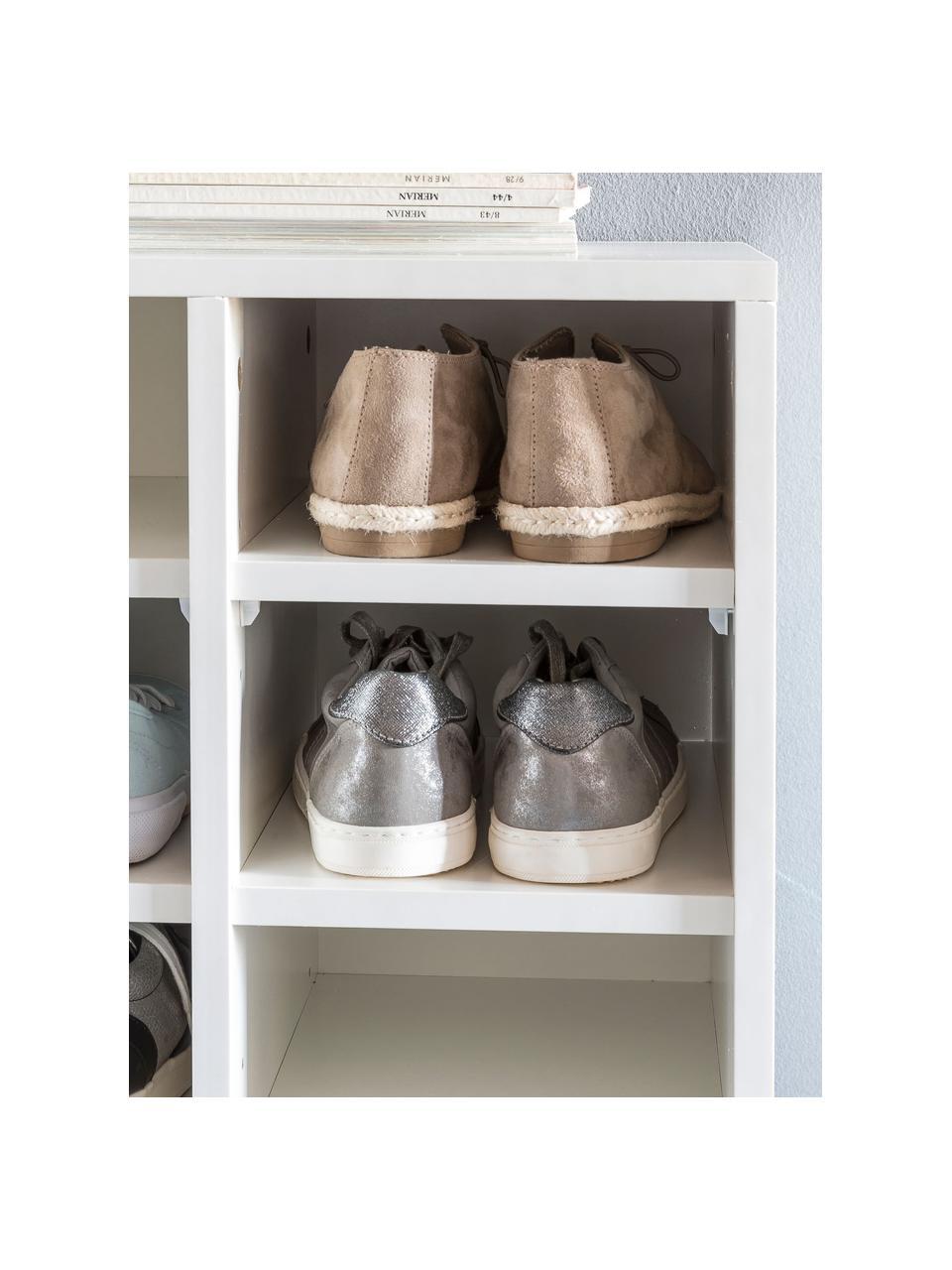 Szafka na buty z 20 przedziałami Diego, Płyta wiórowa powlekana melaminą, Biały, S 91 x W 67 cm
