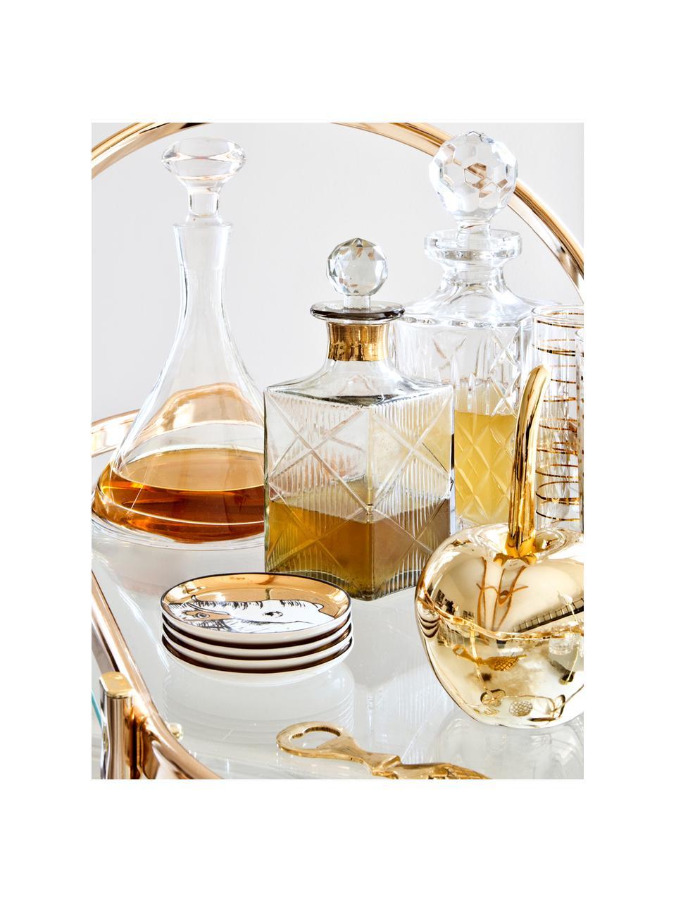 Designer Untersetzer Animalia in Gold, 4er-Set, Porzellan, Gold,Schwarz,Weiß, Ø 10 cm