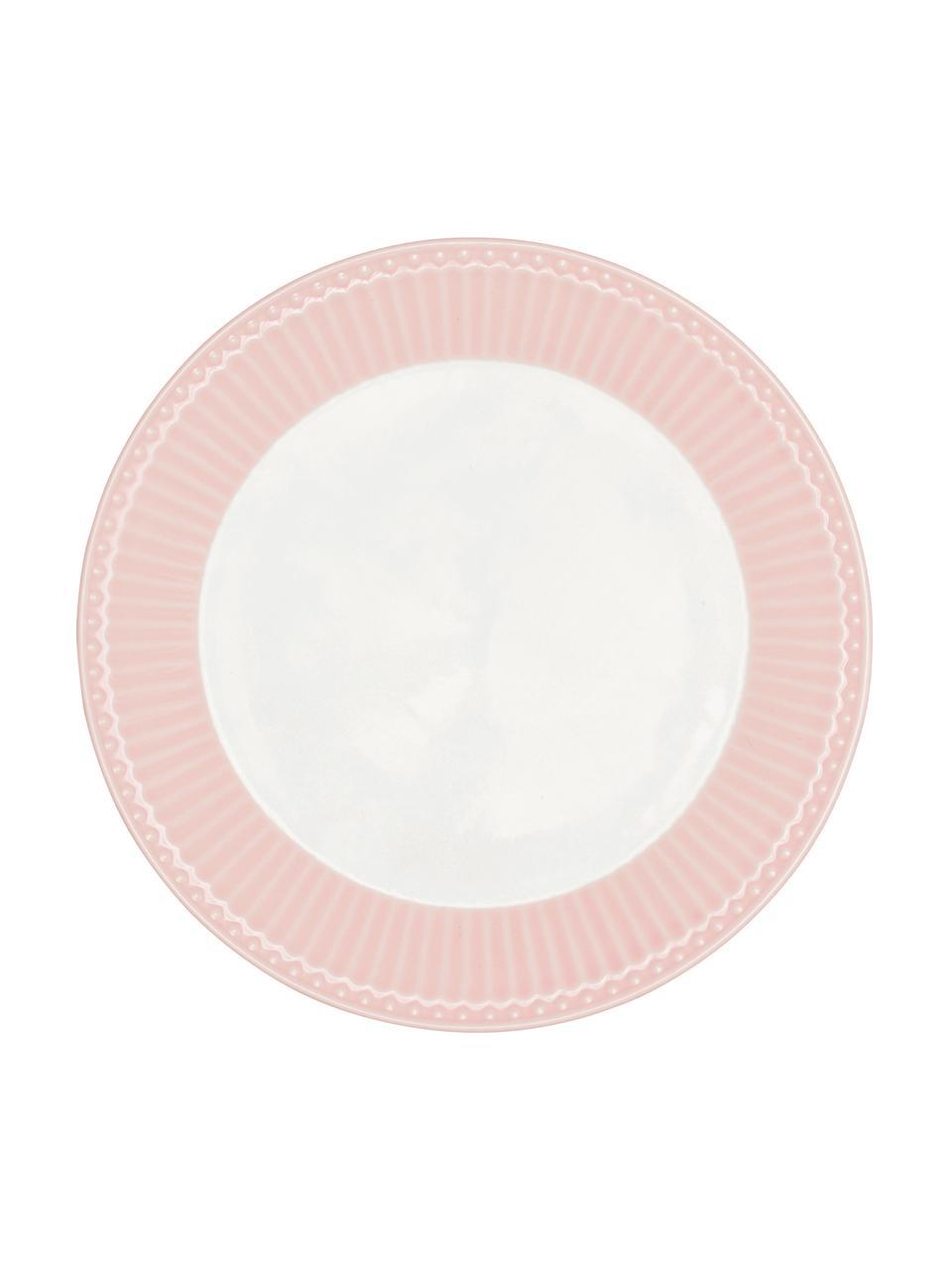 Ručně vyrobený  snídaňový talíř Alice, 2 ks, Růžová, bílá