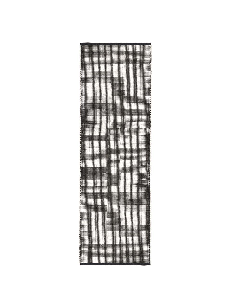 Handgewebter Wollläufer Amaro in Schwarz/Creme, 38% Wolle, 22% Polyester, 20% Baumwolle, 20% Polyamid, Schwarz, Cremeweiß, 80 x 250 cm