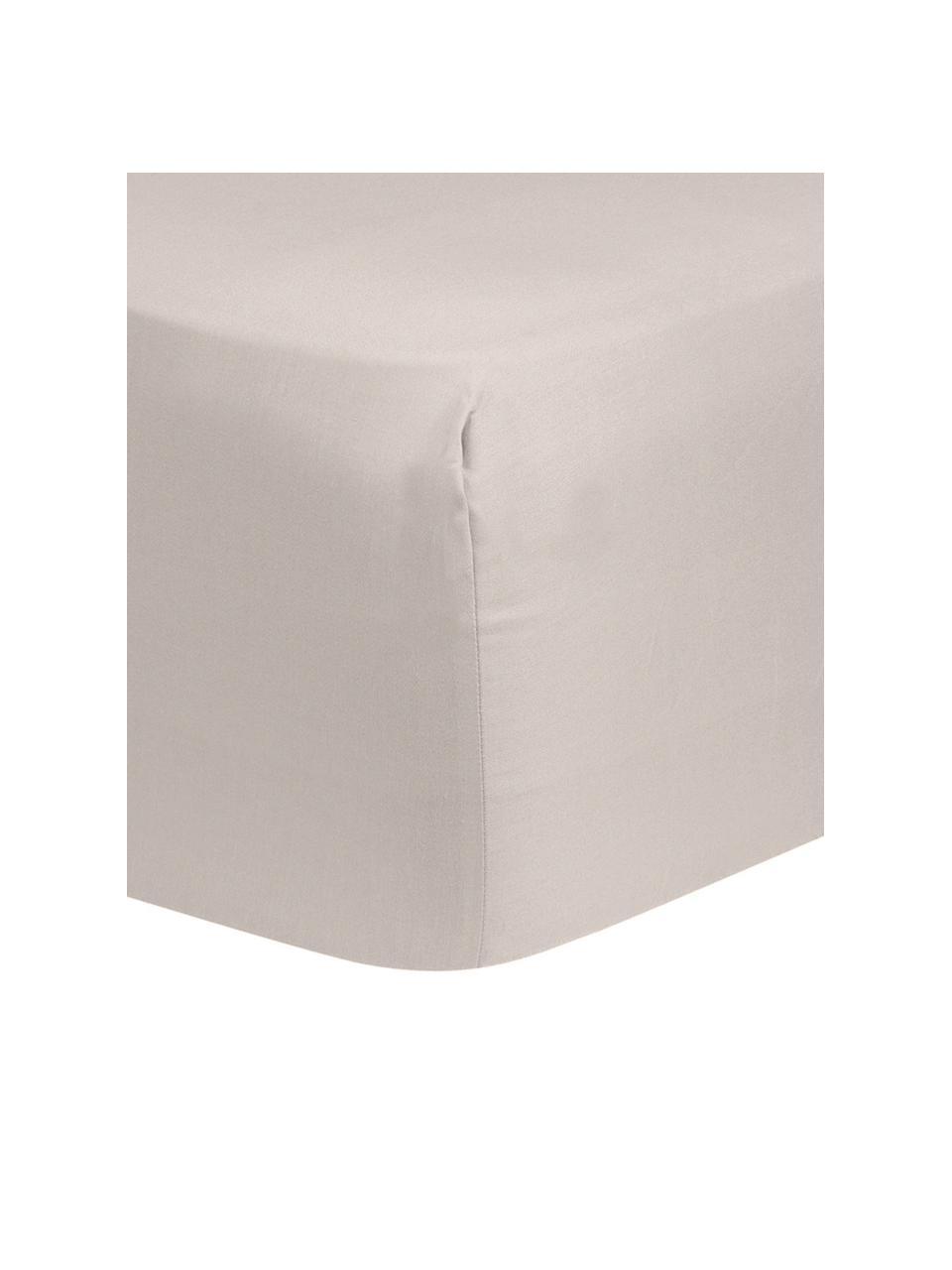 Prześcieradło z gumką z satyny bawełnianej Comfort, Taupe, S 200 x D 200 cm