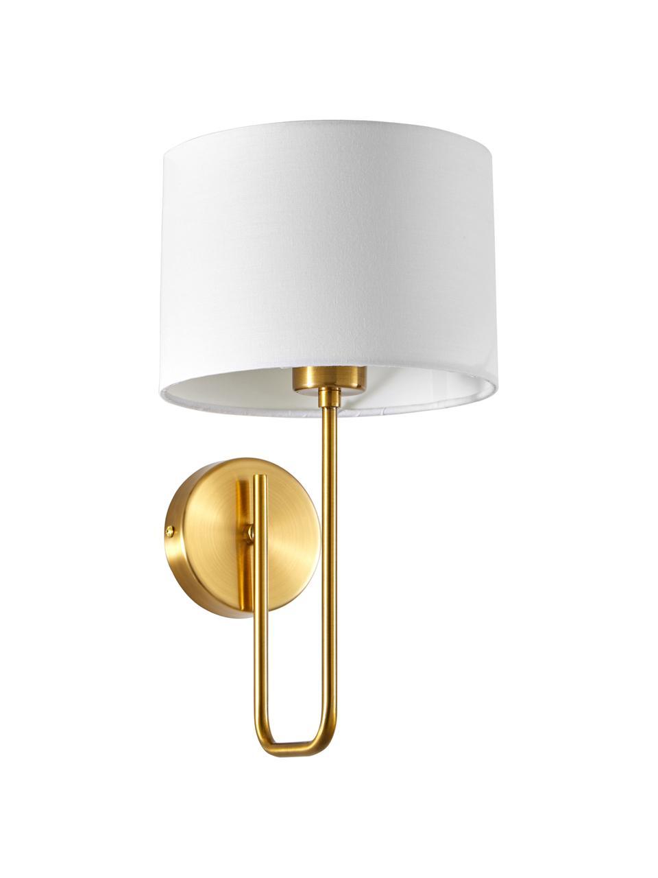 Wandlamp Montreal, Lampenkap: textiel, Frame: gegalvaniseerd metaal, Wit, goudkleurig, Ø 20 x H 36 cm