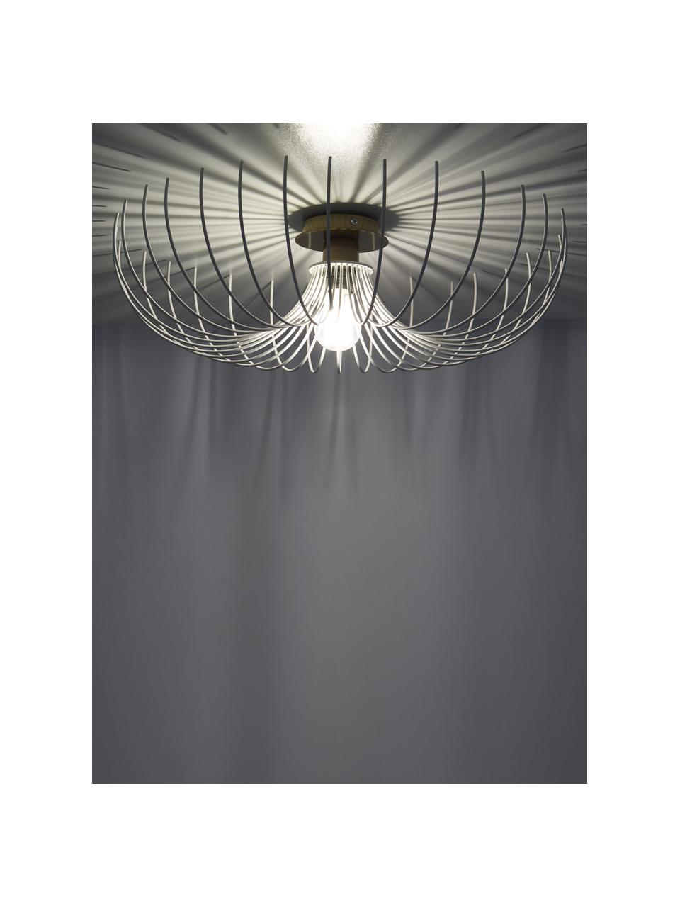 Plafoniera in metallo Aspendos, Paralume: metallo rivestito, Baldacchino: metallo rivestito, Bianco, ottonato, Ø 56 x Alt. 16 cm