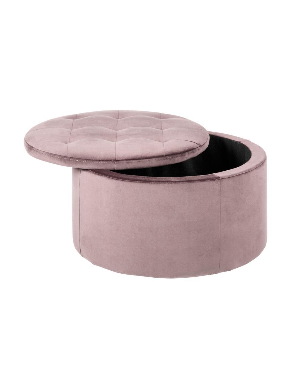 Puf z aksamitu z miejscem do przechowywania Retina, Tapicerka: aksamit poliestrowy 2500, Stelaż: tworzywo sztuczne, Brudny różowy, Ø 60 x W 35 cm