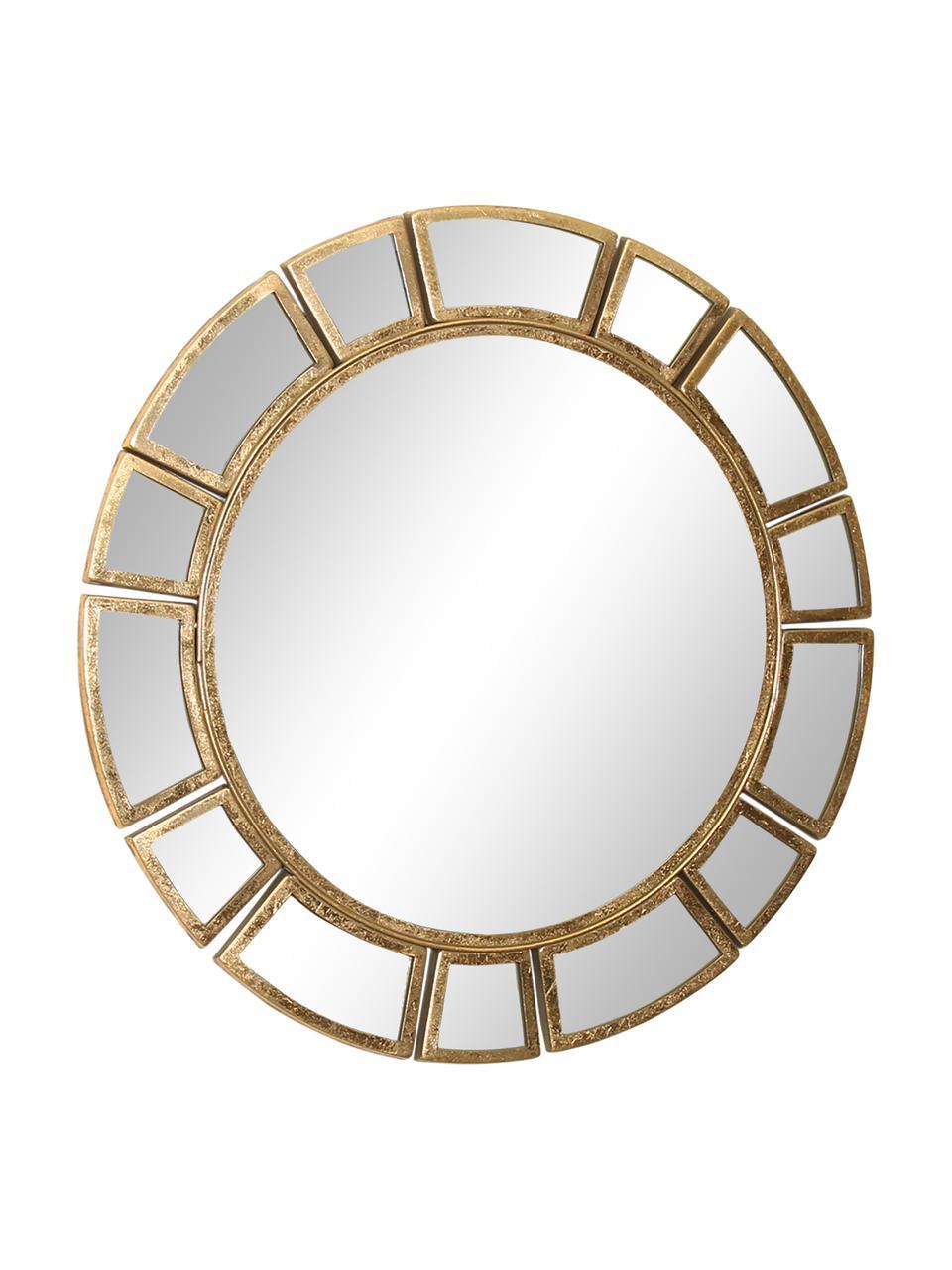 Okrągłe lustro ścienne z metalową ramą Amy, Odcienie mosiądzu, Ø 78 x G 2 cm