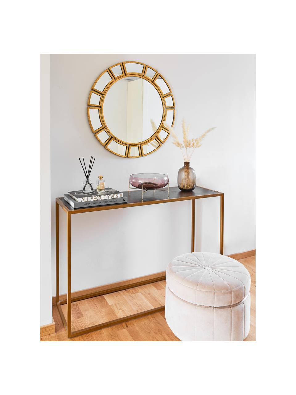 Ronde wandspiegel Amy met goudkleurige frame, Frame: metaal, Goudkleurig, Ø 78 x D 2 cm