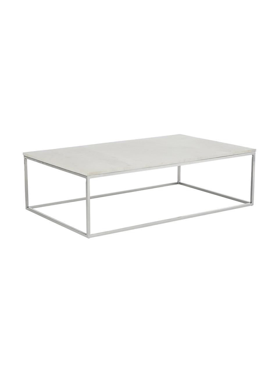 Marmeren salontafel Alys, Tafelblad: marmer natuursteen, Frame: gepoedercoat metaal, Wit marmer, zilverkleurig, B 120 x D 75 cm