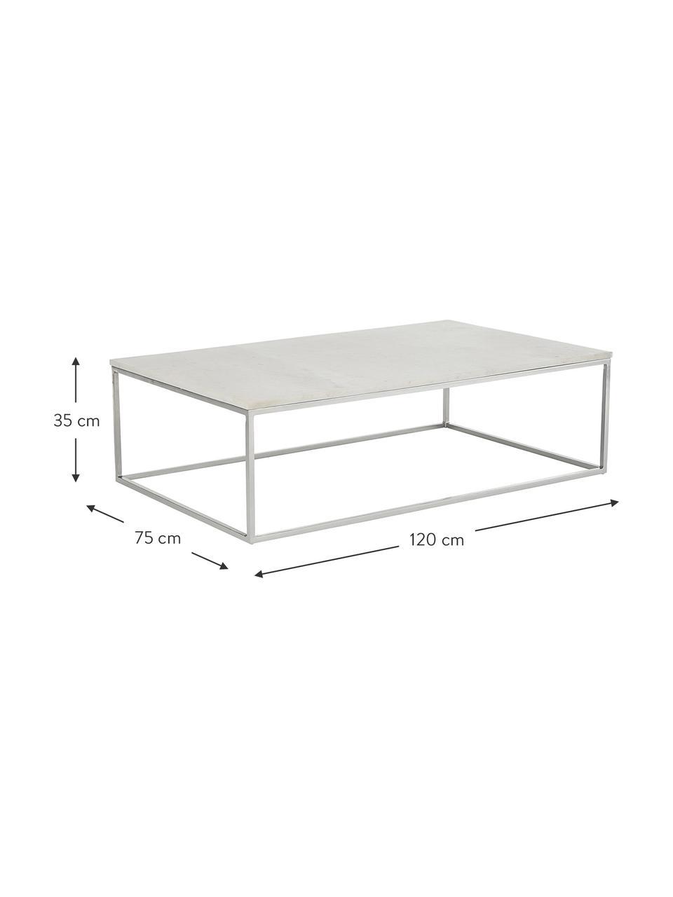 Großer Marmor-Couchtisch Alys, Tischplatte: Marmor Naturstein, Gestell: Metall, pulverbeschichtet, Weißer Marmor, Silberfarben, 120 x 35 cm