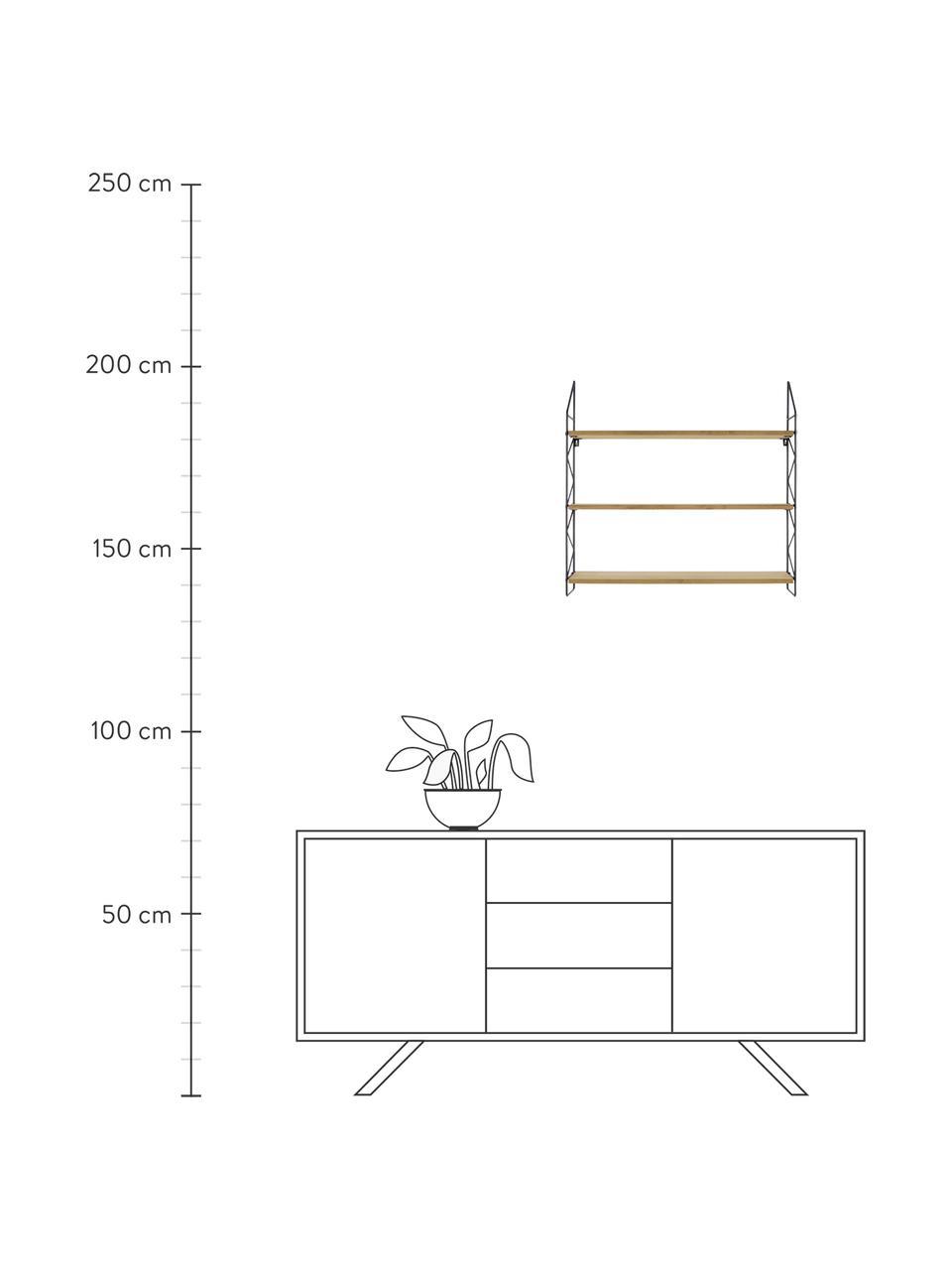 Kleines Wandregal Zig Zag, Gestell: Metall, lackiert, Einlegeböden: Mitteldichte Holzfaserpla, Gestell: SchwarzEinlegeböden: Braun, 60 x 60 cm