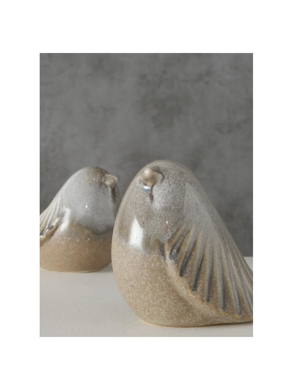 Deko-Objekte-Set Jolly, 2-tlg., Steingut, glasiert, Braun, 7 x 10 cm