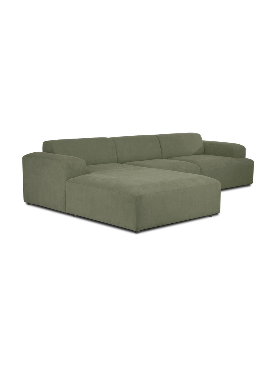 Ribfluwelen hoekbank Melva (4-zits) in groen, Bekleding: corduroy (92% polyester, , Frame: massief grenenhout, FSC-g, Poten: kunststof, Corduroy groen, B 319 x D 196 cm