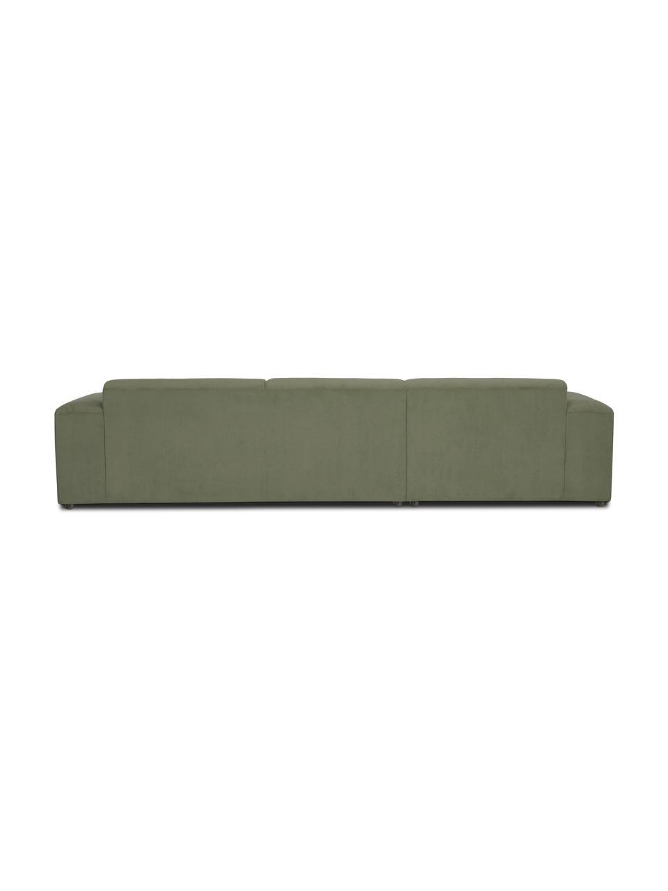 Canapé d'angle 4 places vert Melva, Velours côtelé vert
