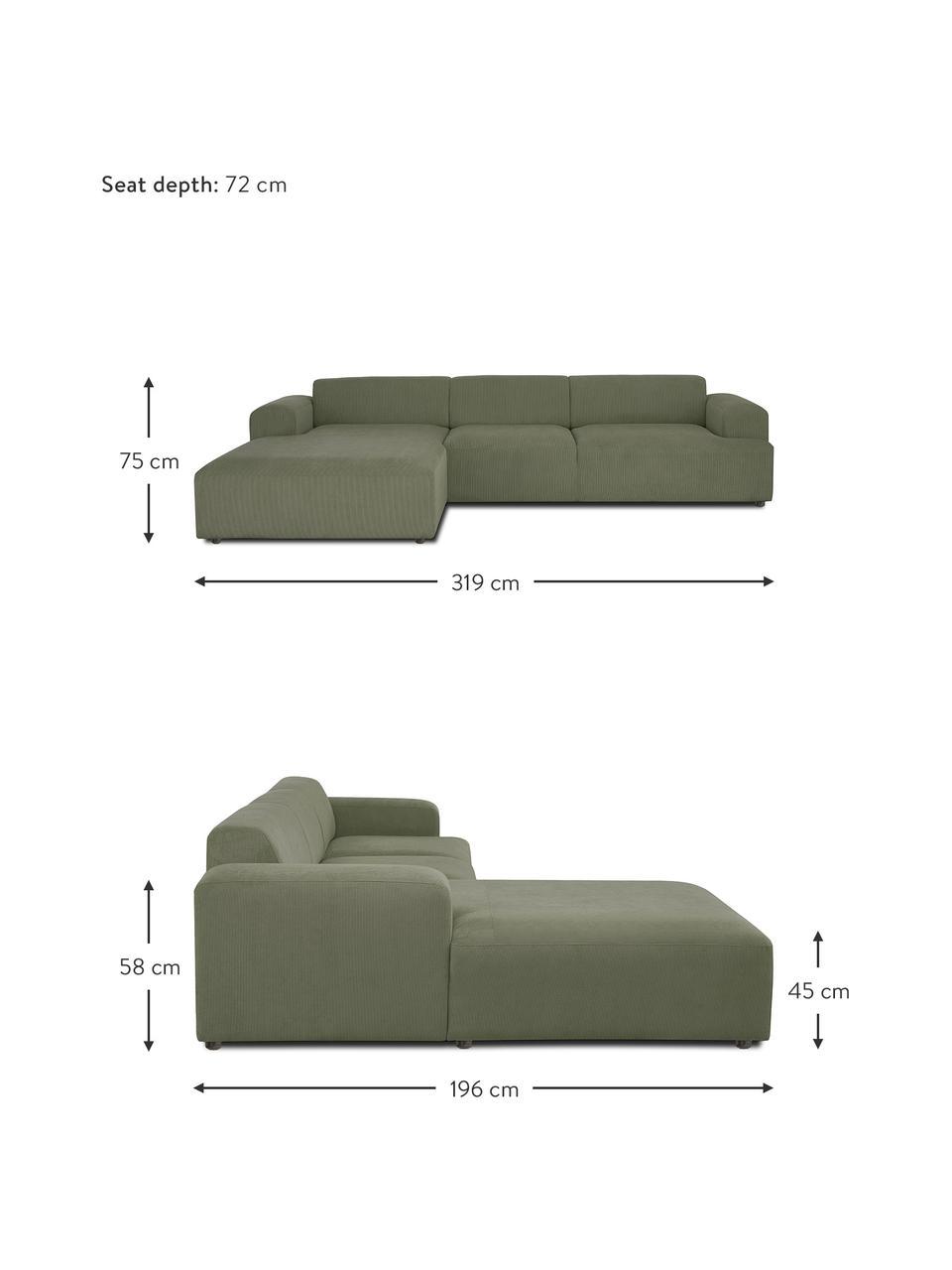 Cord-Ecksofa Melva (4-Sitzer) in Grün, Bezug: Cord (92% Polyester, 8% P, Gestell: Massives Kiefernholz, FSC, Füße: Kunststoff, Cord Grün, B 319 x T 196 cm