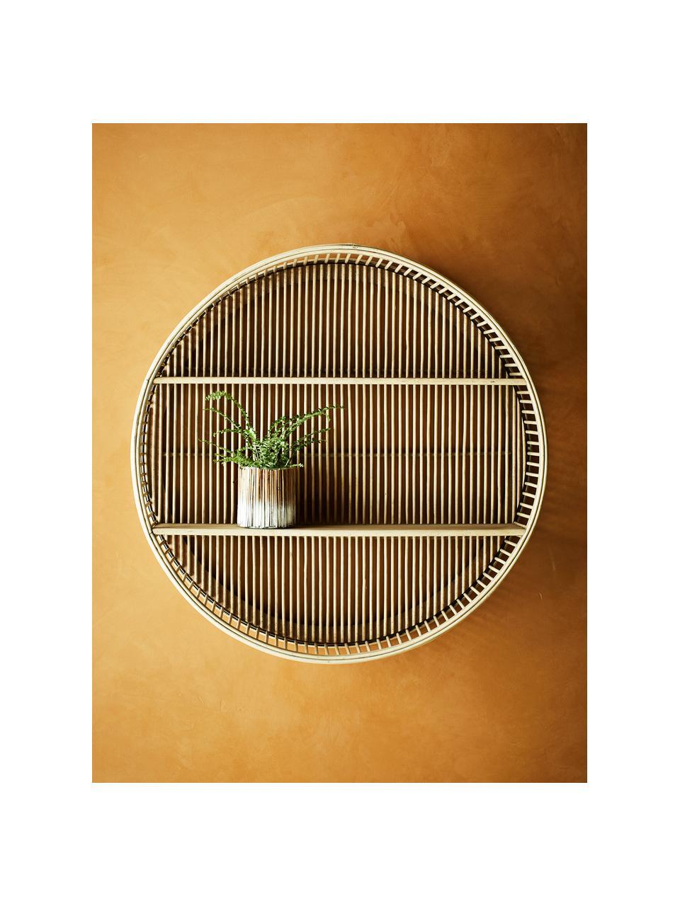 Libreria rotonda in bambù  Bentra, Cornice: bambù, rattan, Ripiani: compensato, Beige scuro, Ø 60 x Prof. 12 cm