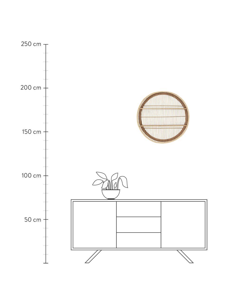 Okrągła półka ścienna z drewna bambusowego Bentra, Ciemny beżowy, Ø 60 x G 12 cm